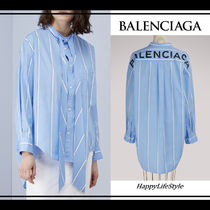 BALENCIAGA Stripes Casual Style Long Sleeves Cotton Medium
