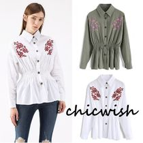 Chicwish Flower Patterns Casual Style Long Sleeves Plain Cotton
