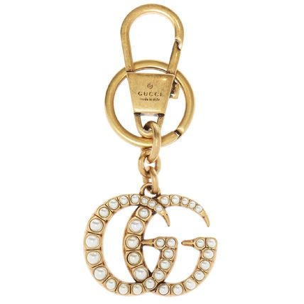 GUCCI Double G With Pearls Keychain