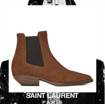 Saint Laurent Suede Plain Block Heels Ankle & Booties Boots
