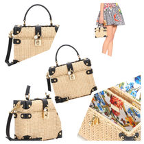Dolce & Gabbana Casual Style Blended Fabrics Plain Leather Shoulder Bags