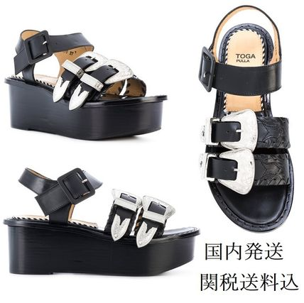 Open Toe Platform Casual Style Studded Plain Leather