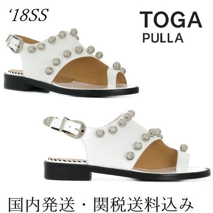 Open Toe Casual Style Studded Plain Leather Block Heels