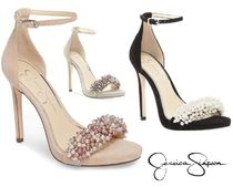 Jessica Simpson Open Toe Suede Blended Fabrics Plain Pin Heels Party Style