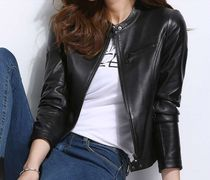 Short Casual Style Plain Leather Biker Jackets