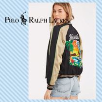 POLO RALPH LAUREN Short Tropical Patterns Street Style MA-1 Bomber Jackets