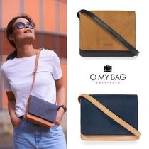 O MY BAG Casual Style Bi-color Leather Shoulder Bags