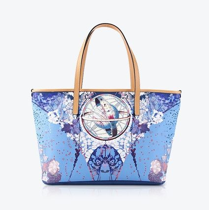 Flower Patterns A4 Leather Elegant Style Totes
