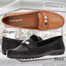 Coach Plain Leather Office Style Loafer Pumps & Mules