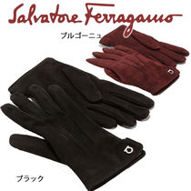 Salvatore Ferragamo Suede Plain Gloves Gloves