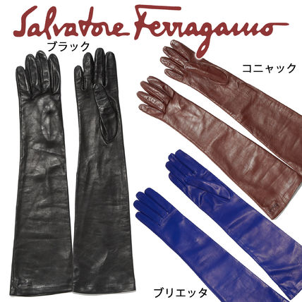 Plain Leather Elegant Style Leather & Faux Leather Gloves