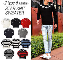 Crew Neck Star Street Style Long Sleeves Knits & Sweaters