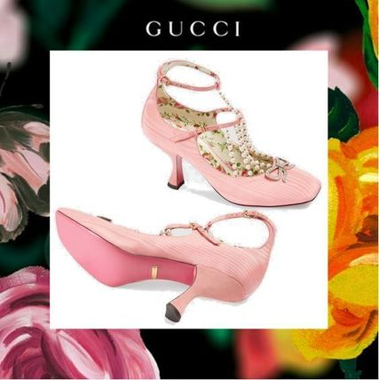 Gucci Flower Patterns Square Toe Plain Pin Heels With Jewels By
