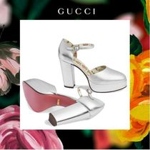 GUCCI Flower Patterns Round Toe Plain Leather With Jewels