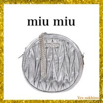 MiuMiu Lambskin 2WAY Chain Plain Party Style Clutches