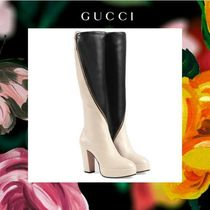 GUCCI Bi-color Leather Chunky Heels High Heel Boots