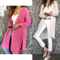 NANING9 Street Style Long Sleeves Plain Long Elegant Style Cardigans