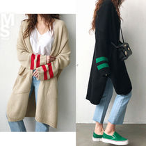 NANING9 Casual Style Street Style Bi-color Long Sleeves Long