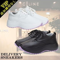 CELINE Rubber Sole Lace-up Casual Style Plain Leather