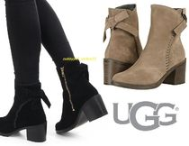 UGG Australia Round Toe Suede Plain Block Heels Ankle & Booties Boots