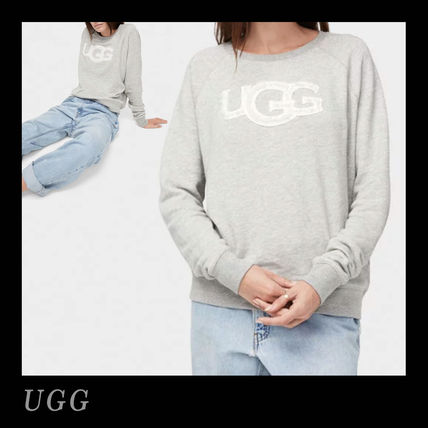 Crew Neck Casual Style Long Sleeves Plain Cotton