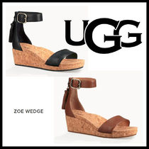 UGG Australia Open Toe Casual Style Leather Footbed Sandals Flat Sandals