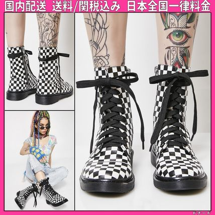 Other Check Patterns Round Toe Lace-up Casual Style Faux Fur