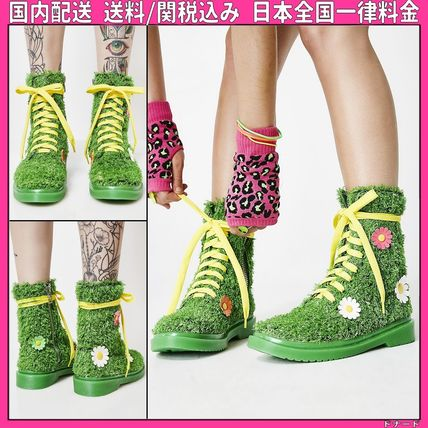 Flower Patterns Round Toe Lace-up Casual Style Faux Fur