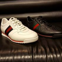 GUCCI Stripes Unisex Blended Fabrics Street Style Plain Leather