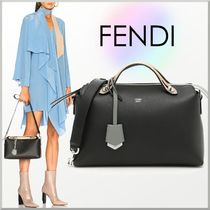 FENDI BY THE WAY 2WAY Bi-color Plain Leather Office Style Boston & Duffles