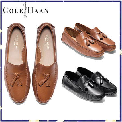 Plain Leather Office Style Loafer Pumps & Mules