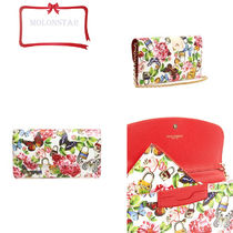 Dolce & Gabbana Flower Patterns 2WAY Chain Leather Party Style Clutches