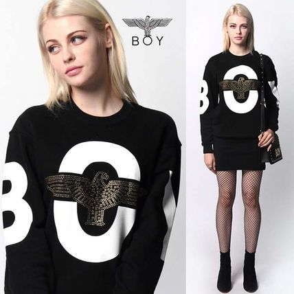 Crew Neck Casual Style Street Style Long Sleeves