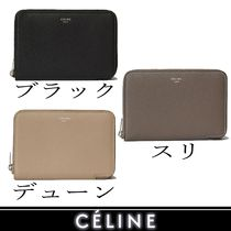 CELINE Zipped Calfskin Bi-color Plain Folding Wallets