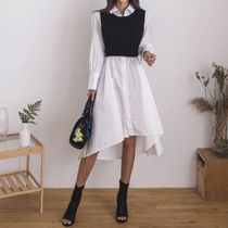 Long Sleeves Plain Cotton Long Shirt Dresses Elegant Style