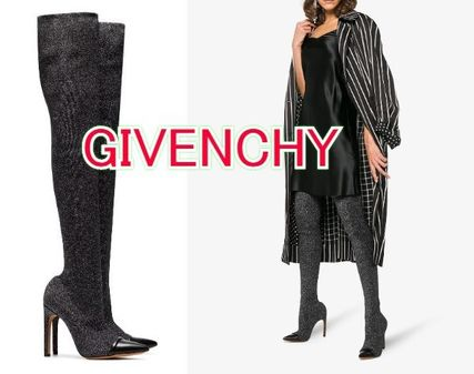 Plain Leather Elegant Style Over-the-Knee Boots