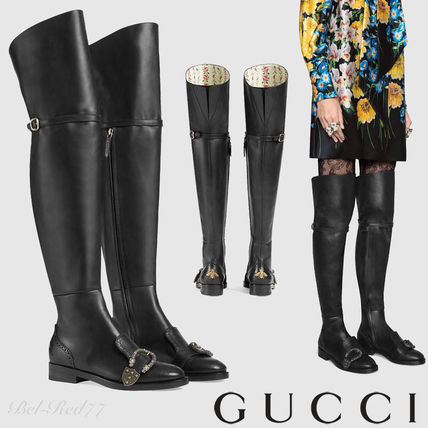 Round Toe Plain Leather Elegant Style Over-the-Knee Boots