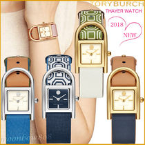 Tory Burch Leather Square Quartz Watches Analog Watches