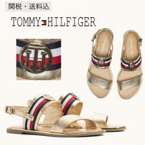 Tommy Hilfiger Stripes Round Toe Rubber Sole Casual Style Plain Leather