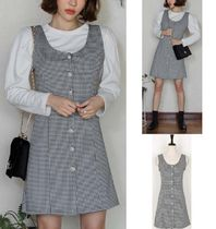 Other Check Patterns Sleeveless Cotton Medium Party Style