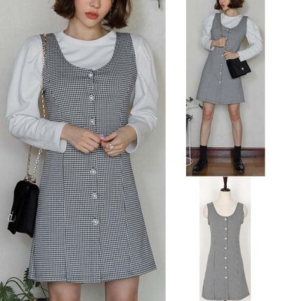 Dresses Other Check Patterns Sleeveless Cotton Medium Party Style