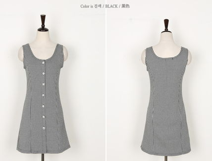 Dresses Other Check Patterns Sleeveless Cotton Medium Party Style 13