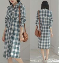 Other Check Patterns Casual Style Long Sleeves Cotton Long