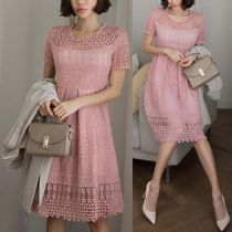 Medium Short Sleeves Party Style Lace Dresses