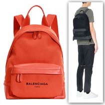 BALENCIAGA NAVY Cambus Plain Elegant Style Backpacks