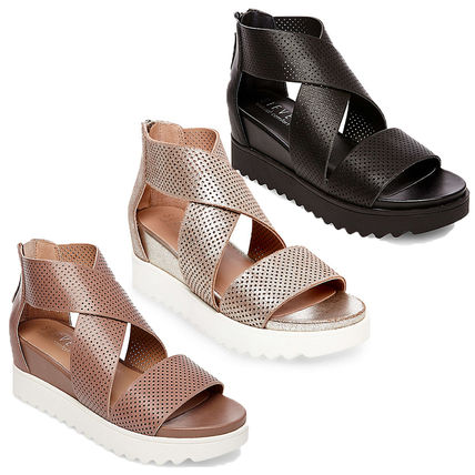 Platform Plain Leather Platform & Wedge Sandals