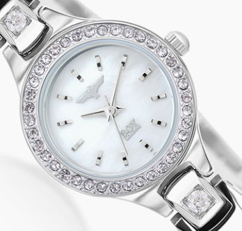 Studded Metal Round Jewelry Watches With Jewels