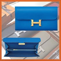 HERMES CONSTANCE Blended Fabrics Plain Leather Long Wallets