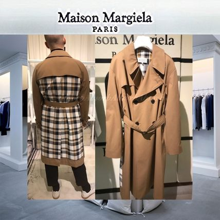 Other Check Patterns Blended Fabrics Long Trench Coats