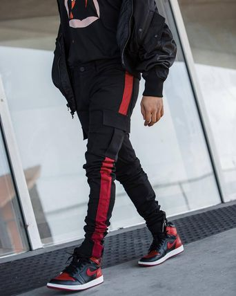Stripes Street Style Plain Cargo Pants